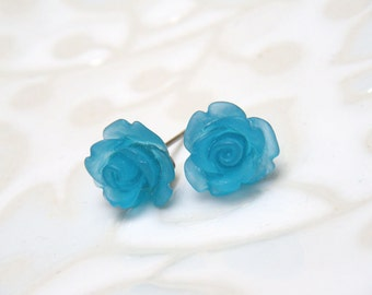 Turquoise Flower Earrings, Rose Earrings, Stud Earrings, Blue Post Earrings, Vintage Style Earrings, Surgical Steel - Ocean Blue