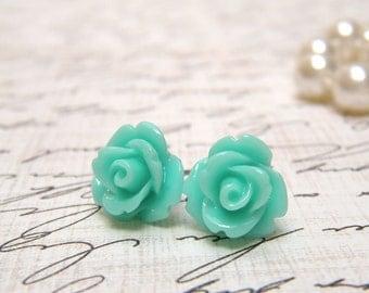 Sea Green Flower Earrings, Tiny Rose Earrings, Stud Earrings, Green Post Earrings, Bridal Party Gifts, Vintage Style, Hypoallergenic