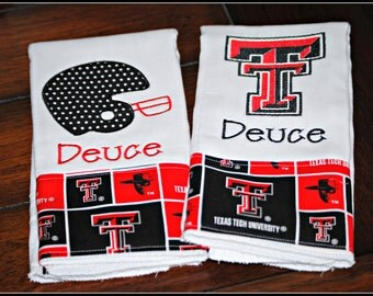 Embroidered Texas Tech Burp Cloth - Monogrammed and Personalized