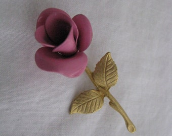 Pink vintage enamel flower pin brooch Less than perfect