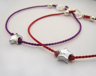 Silver Star Bracelet - Tiny Star - Baby Bracelet - Toddler Bracelet - Youth Bracelet - Choose Color - Sterling Silver - Keepsake #7-001