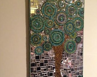Mixed Media Mosaic, Summer... OOAK ...  Stunning mosaic art for your home or for your loved one, Wedding, Marriage gift, Gift for your bride
