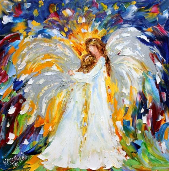 Original Oil Painting Heavenly Hugs Angel Abstract Figurative