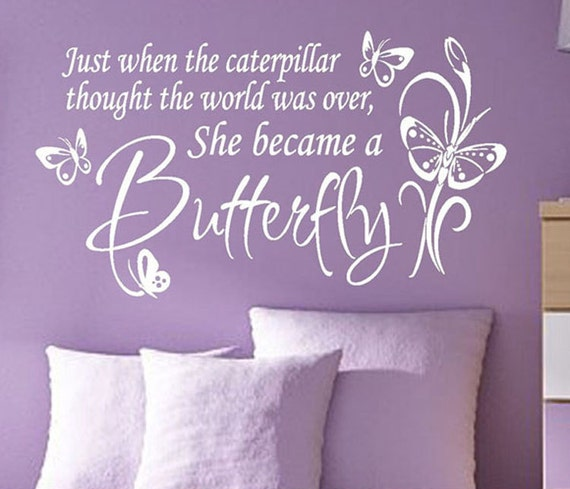 She became a Butterfly, Vinyl Wall Lettering, Vinyl Wall Decals, Vinyl Decals, Vinyl Lettering, Wall Decals, Nursery Decal, Girls Room
