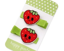 Ms Strawberry Red Hair Clips for little girls