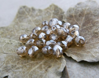 5mm Glass Beads, Small Round Spacers, Czech Glass Beads, Smoky Topaz & White Luster (50pcs) NEW