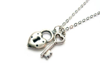 Lock And Key Necklace With Hearts, Small Key To My Heart Silver Necklace - Delicate Heart Necklace - Valentine Gift