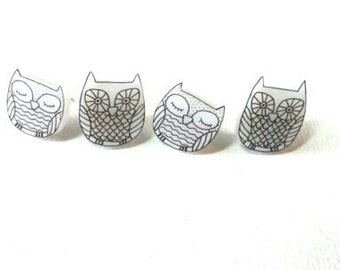 black and white owl earrings, set of 2
