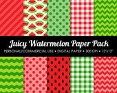 Juicy Watermelon Digital Printable Paper Pack - For Commercial or Personal Use