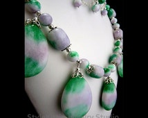 Large Candy Jade Necklace, 925 Sterling Silver, Statement, Dangle Earring, Two Piece Set, White Green Purple, Multi Color, Gemstone, Jewelry