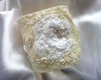 Boho Bridal Cuff - Fabric Wrist Cuff - Beaded - White
