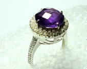 Amethyst Ring Amethyst Cocktail Ring With Halo in CZs Engagement Ring in Solid Sterling Silver Size 6