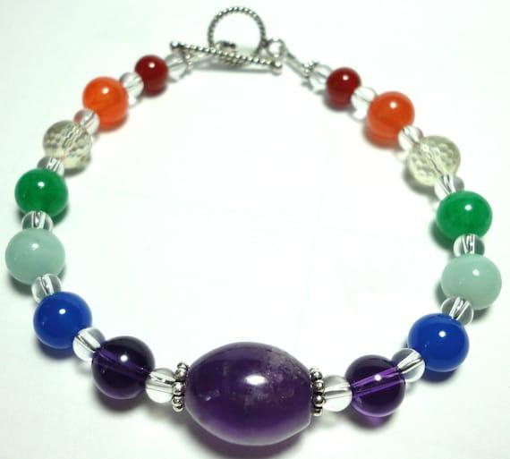 Rainbow Gemstone Bracelet Rainbow Chakra Energy Bracelet Multicolor Gemstone Bracelet with Sterling