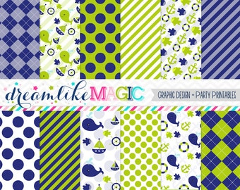Lime and Navy Nautical Themed Digital Paper Pack for Personal or Commercial Use INSTANT DOWNLOAD