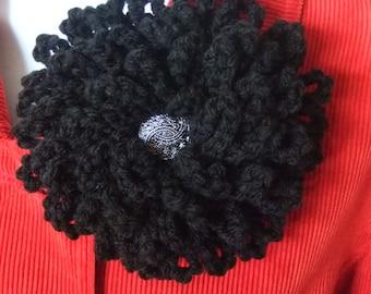 Large Black Crochet Flower Brooch, Pin, Corsage