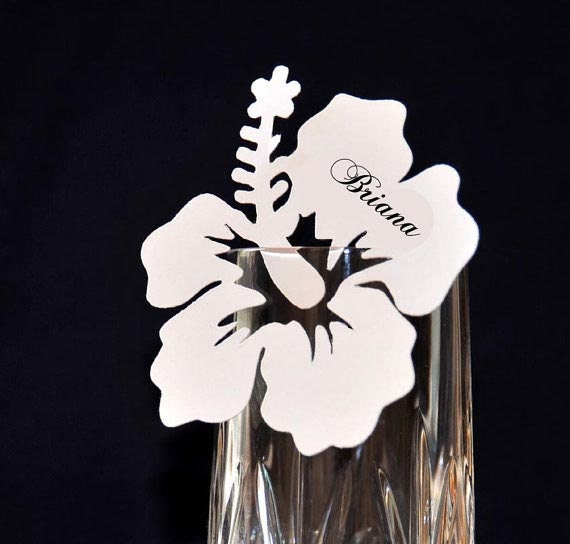 10 Personalize Hibiscus Flowers Escort / Place Cards - Favor Bookmarks / Popular Item Wedding Decor