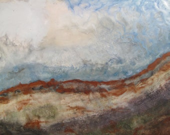 Abstract landscape encaustic beeswax painting