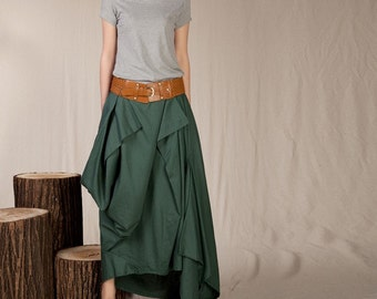 Summer Maxi skirt Linen Skirt In Forest Green(more colour and size choice)-NS03