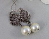 SALE Allie,Silver Earrings,Pearl,Antique,Vintage Style,Wedding,Bride,Antique Earrings,Pearl Earrings. Handmade jewelery by valleygirldesign