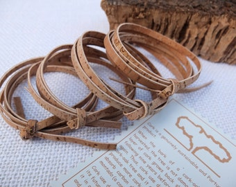 """Flat cork cord, 4x1m (39 3/8""""), 3mm (1/8"""") wide, made of Ecofriendly Portuguese reversible cork fabric, cork leather strings, cork strips"""