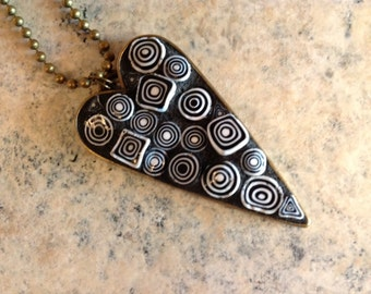 Stained Glass Mosaic Abstract Geometric Black and White Necklace