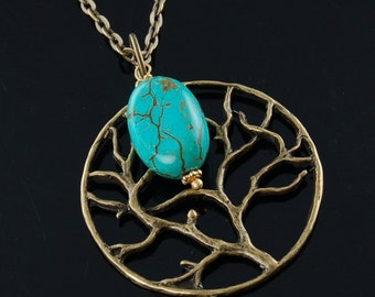 Bronze Tree of Life Necklace with Turquoise Gemstone