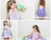 Rapunzel Tutu Dress: light purple with pink center & straps, lined, Princess Party, Princess Dinner, Costume, Birthday, wrap around dress