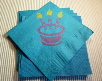 Happy Birthday Cake Paper Cocktail / Luncheon/ Beverage Napkins - Blue