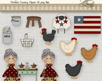 Primitive Country Clipart 24 digital png files for scrapbooking, card making, digital and paper crafts