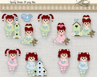 Springtime Raggedy Annies 29 digital png files for scrapbooking, card making, digital and paper crafts