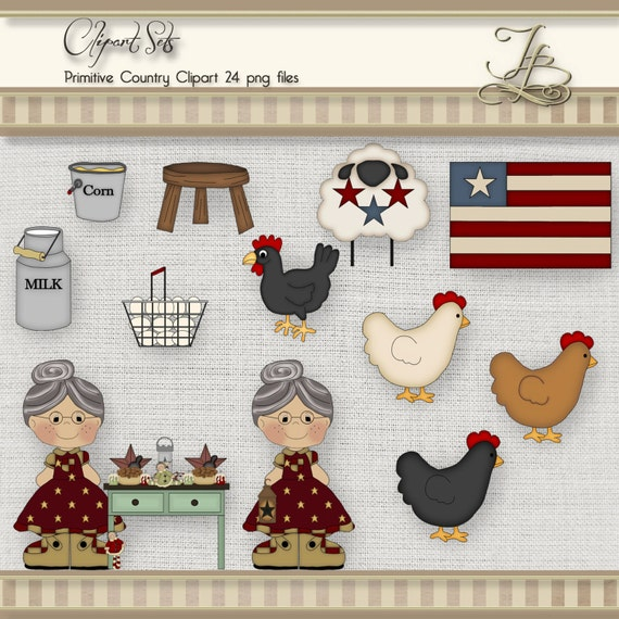 Primitive Country Clipart 24 digital png files for