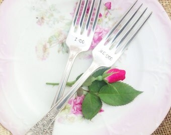 Hand Stamped I Do Me Too Wedding Cake Tasting Forks with date by Blithe Vintage