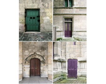 SALE, Paris Prints, Doors, Rustic Decor, Purple, Brown, Gray, Set of 4 Prints, Old Door Photos