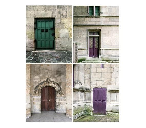 SALE, Paris Prints, Doors, Rustic Decor, Purple, Brown, Gray, Set of 4 Prints, Old Door Photos