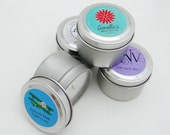 Wedding and Party Favors 2 Oz. Travel Tin Soy Candles with Personalized Label