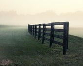 Foggy Landscape Photograph black pasture fence green grass morning mist white 8x12 summer mystical mystery disappear country