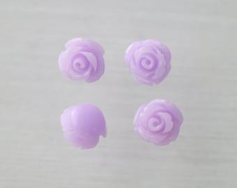 Coral Rose Flower 8mm 3D Cabochon beads Lt Lavender Purple -(SF01-8)/ 20pcs