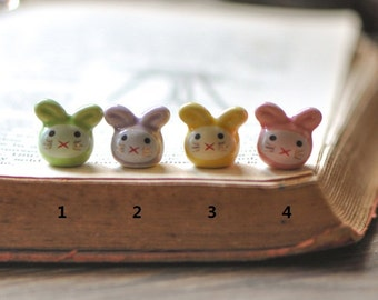 10pcs Porcelain Ceramic Bunny Rabbit beads, Only Yellow Color in Stock  -80133
