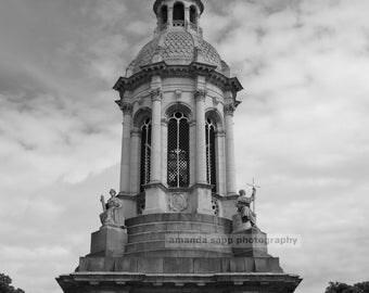 Trinity College Dublin Ireland black and white photo