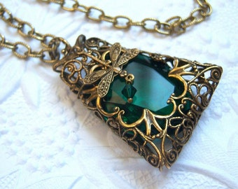Emerald filigree dragonfly pendant necklace, statement necklace -  VG975