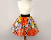 On Sale Folk  Flowers Embroidered Like  Print Aline Skirt / Mexican Embroidered skirt