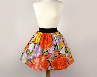 Folk  Flowers Embroidered Like  Print Aline Skirt / Mexican Embroidered skirt