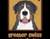 Greater Swiss Mountain Dog Cartoon Heart T-Shirt Tee - Men's, Women's Ladies, Short, Long Sleeve, Youth Kids