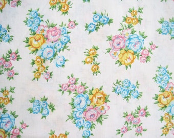 Vintage Sheet Fabric Fat Quarter – Floral Pink Blue Yellow Roses White Background