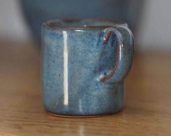 Stoneware Espresso Coffee Cup Blue Rutile full glazed handle PRE ORDER