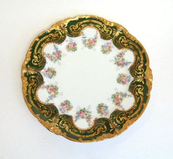 j p limoges hand painted plate emerald green and gilded gold. Black Bedroom Furniture Sets. Home Design Ideas