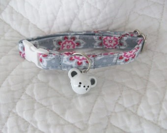 Valentine Cat Collar with Mouse Bell   Breakaway Collar Custom Made