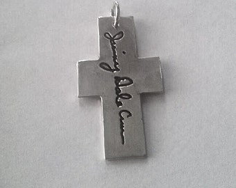 Memorial Jewelry Signature  on a Cross - Handwriting Jewelry Your Lost Loved Ones Actual Signature or message Made to order