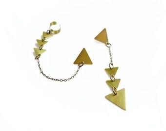 Gold Ear Cuff, Geometric Ear Cuff, Chain Ear Cuff, Triangle Earrings, Boho Earcuff Earring
