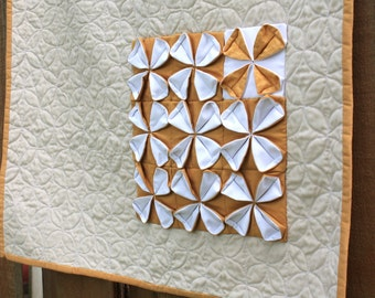 Modern Quilt, Textile Wall Art, Decorative Blanket, Fabric Origami, Wall Hanging in Gold, Yellow and White by Nstarstudio